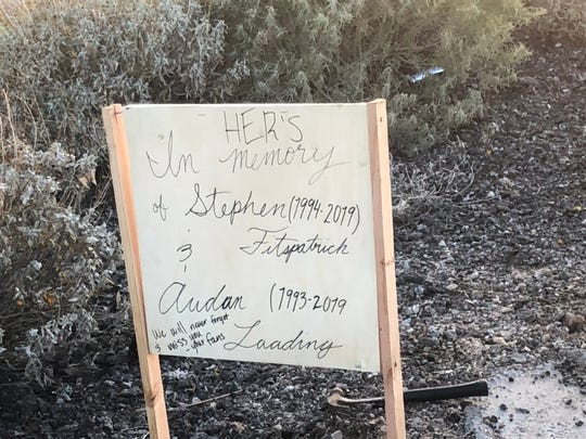 Message written on the back of Vanessa Herb's memorial to Her's at the crash site on the I-10.