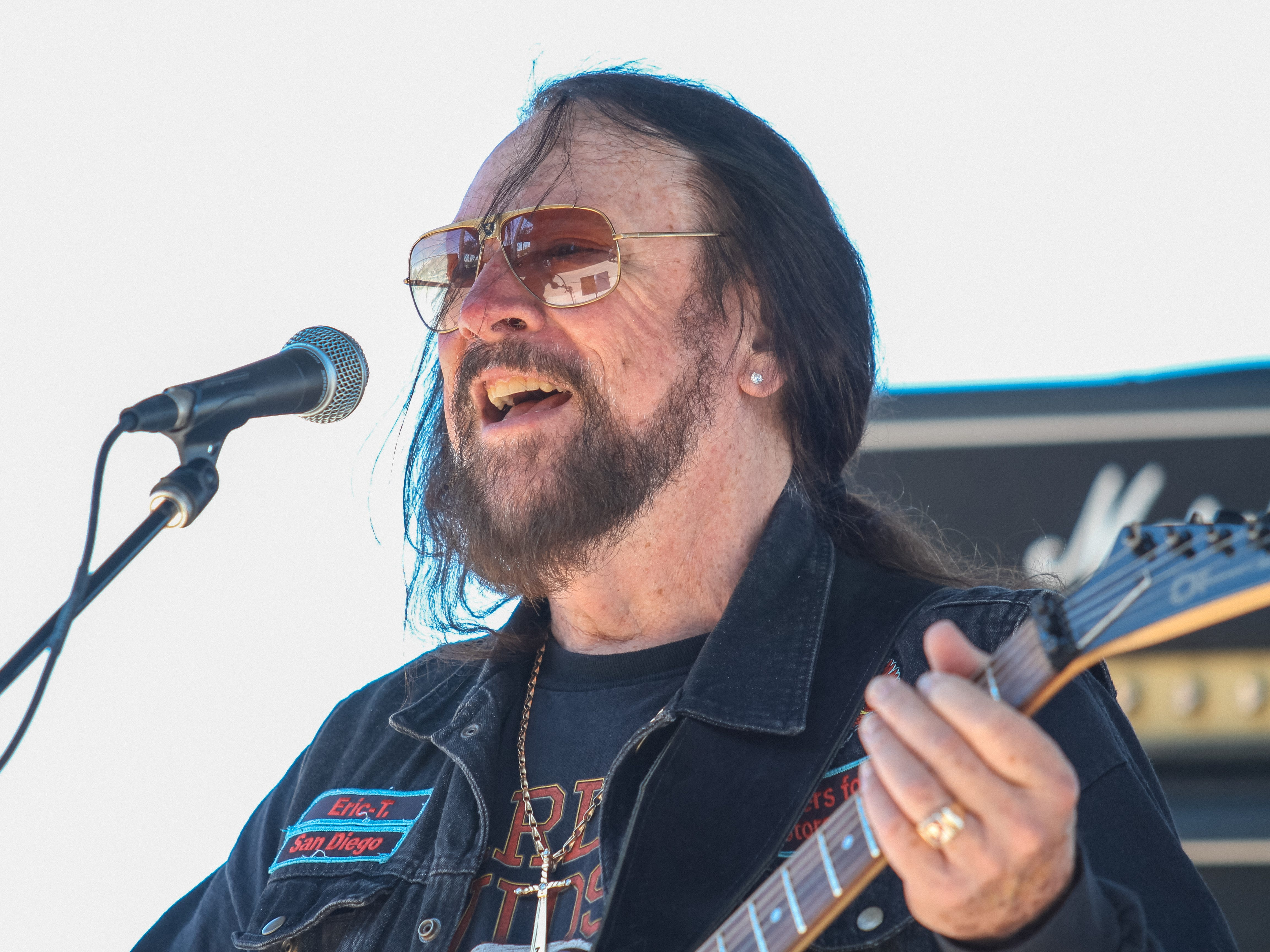 Eric Turner of the Full Throttle Band out of Southern California plays at the Harley Davidson of Scottsdale in Scottsdale on April 6, 2019.