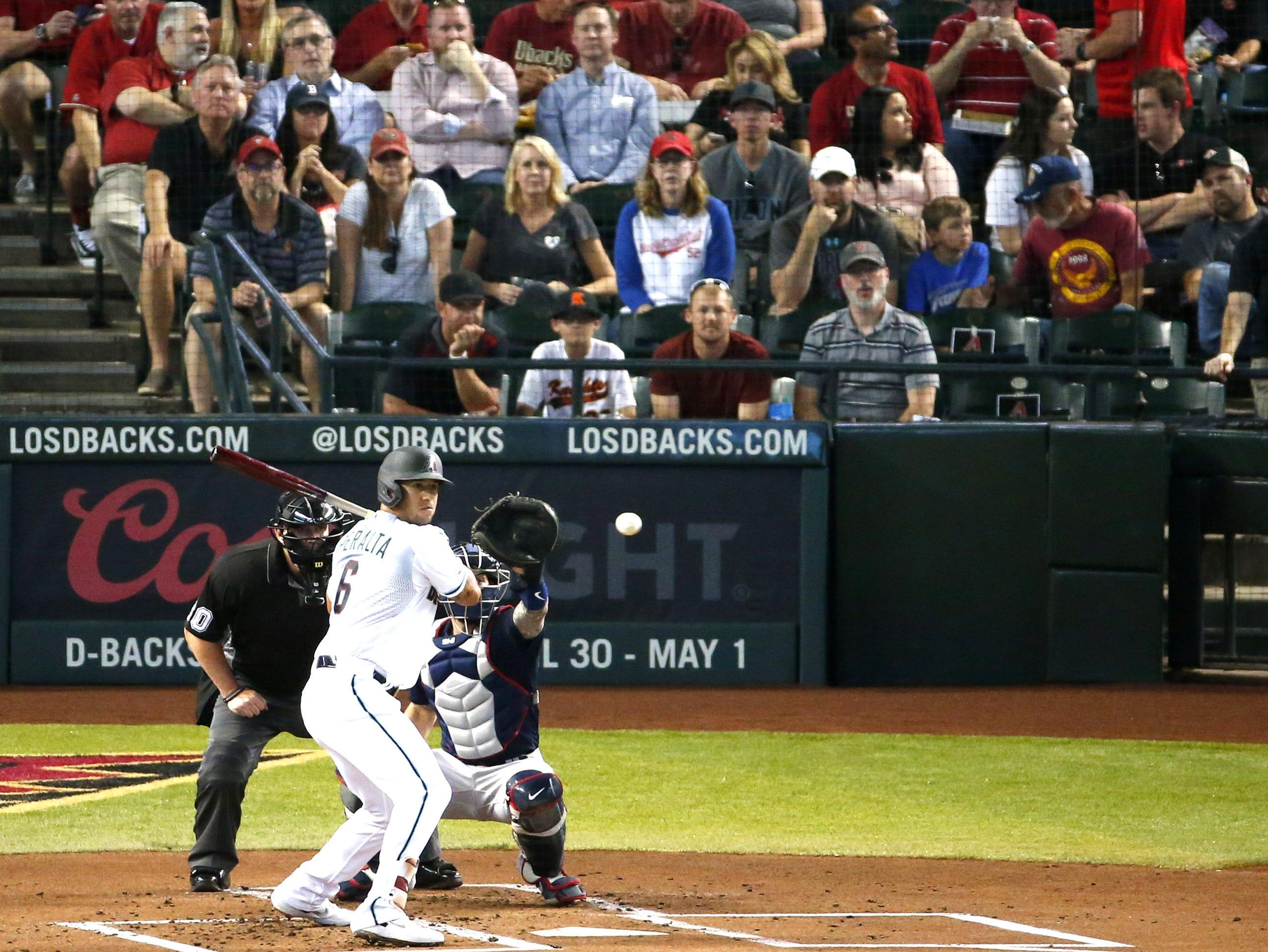 Arizona Diamondbacks right fielder David Peralta (6) at bat during Opening Day   Boston Red Soxat Chase Field in Phoenix on April 5.