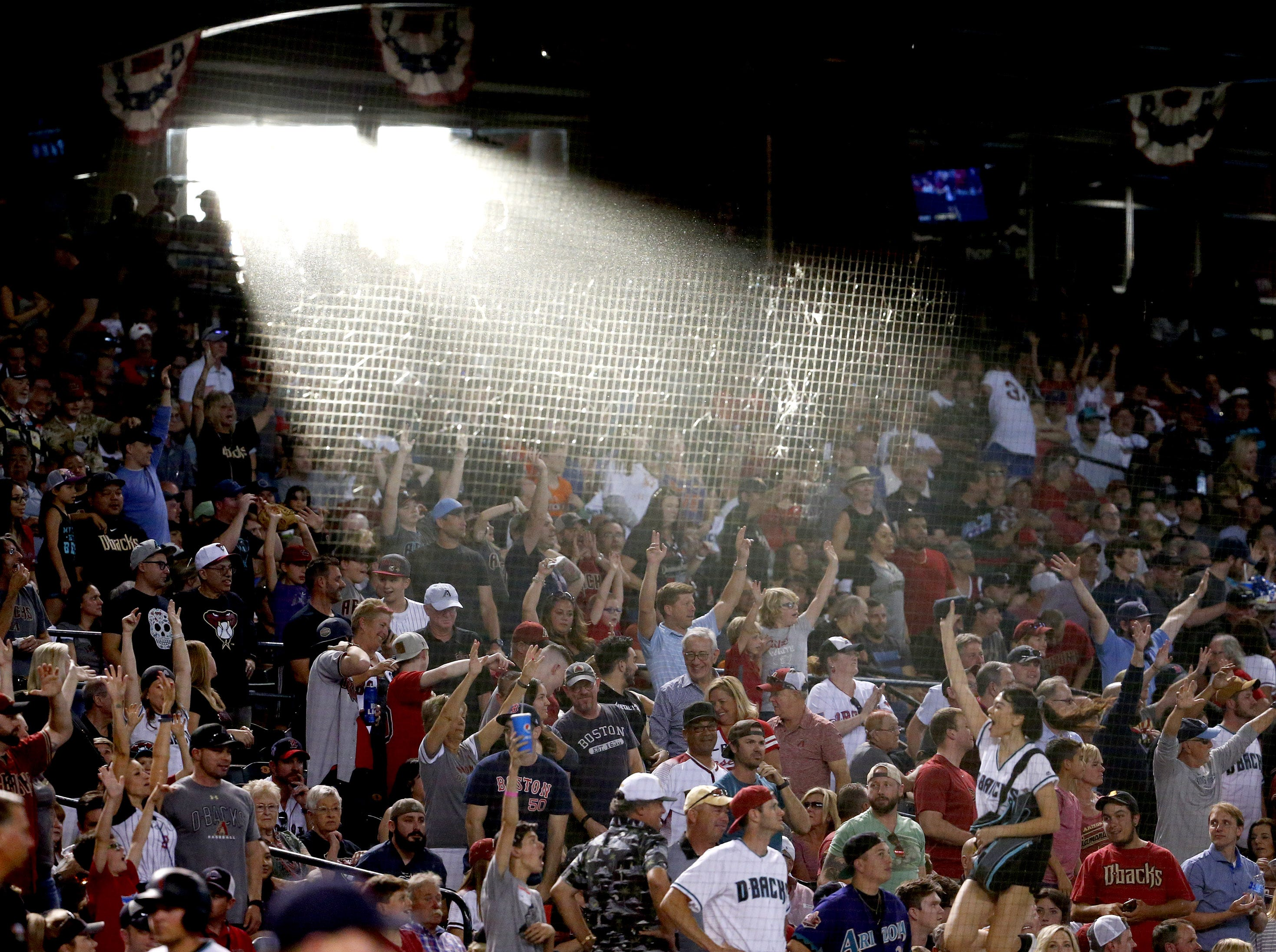 Sunlight spills into the Chase Field during Opening Day at against the Boston Red Sox in Phoenix on April 5.