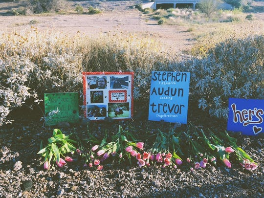 Vanessa Herb's memorial honoring members of Her's at the site of the crash that claimed their lives.
