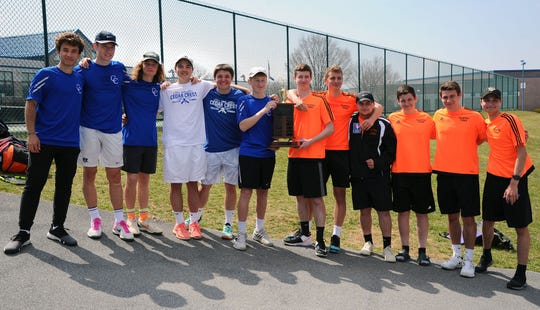 Cedar Crest and Palmyra shared the team title at the 25th Lebanon County Boys Tennis Tournament on Saturday.