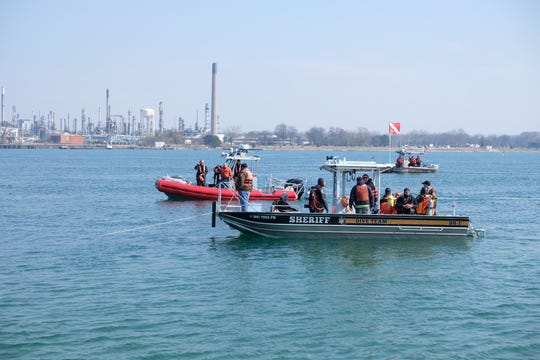 Crews are responding to reports of a 79-year-old man who's vehicle entered the St. Clair River in Marysville Saturday, April 6, 2019.