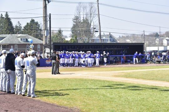Clarks Summit and Wilson line up before a double-header began on Saturday afternoon at Henninger Field.