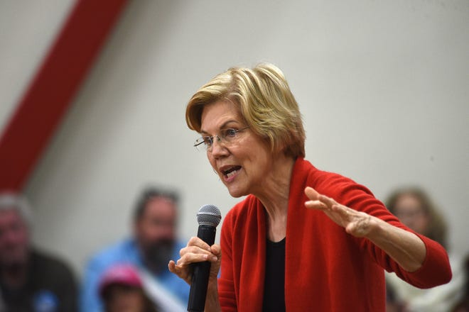 Senator and presidential candidate Elizabeth Warren speaks during a rally at Wooster High School in Reno on April 6,  2019.
