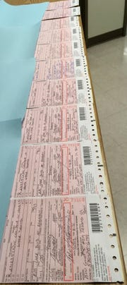 The CHP shows the 13 citations that officers issued to drivers Thursday for distracted driving. Twelve of the tickets related to cellphone use while driving.