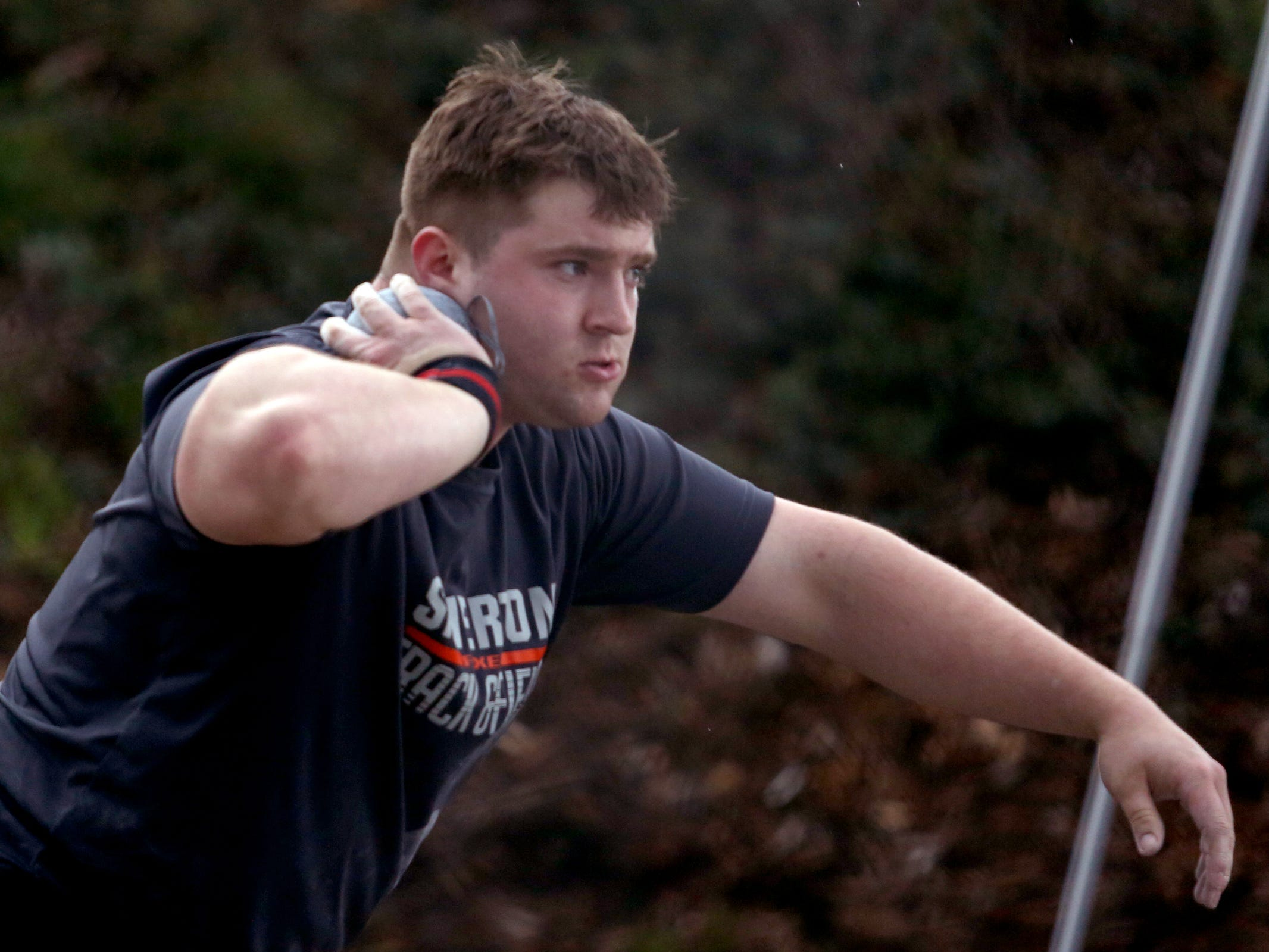 Silverton's Ben Willis competes in the boys shot put during the Titan Track Classic high school track and field meet at West Salem High School on April 5, 2019.
