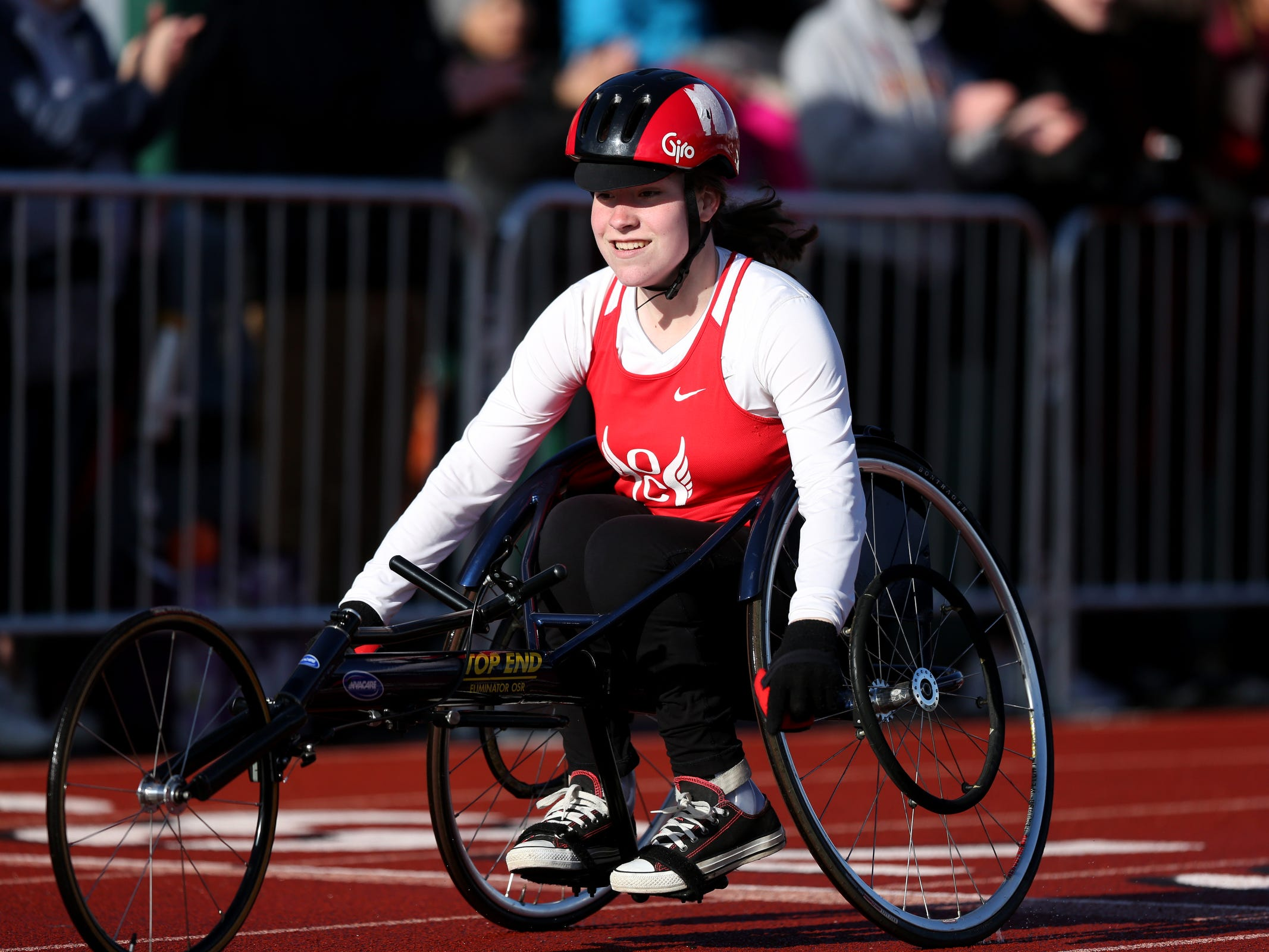 Oregon City's Candice Stilwell competes in the girls 100 meter wheelchair dash during the Titan Track Classic high school track and field meet at West Salem High School on April 5, 2019.