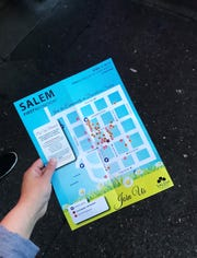 First Wednesday map photographed in downtown Salem on April 3, 2019.