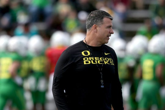 Head coach Mario Cristobal leads the Oregon Ducks spring football practice and scrimmage at Hillsboro Stadium on April 6, 2019.