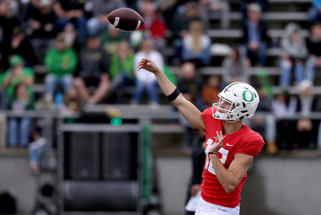 Tyler Shough (12) passes the ball during the Oregon Ducks spring football practice and scrimmage at Hillsboro Stadium on April 6, 2019.
