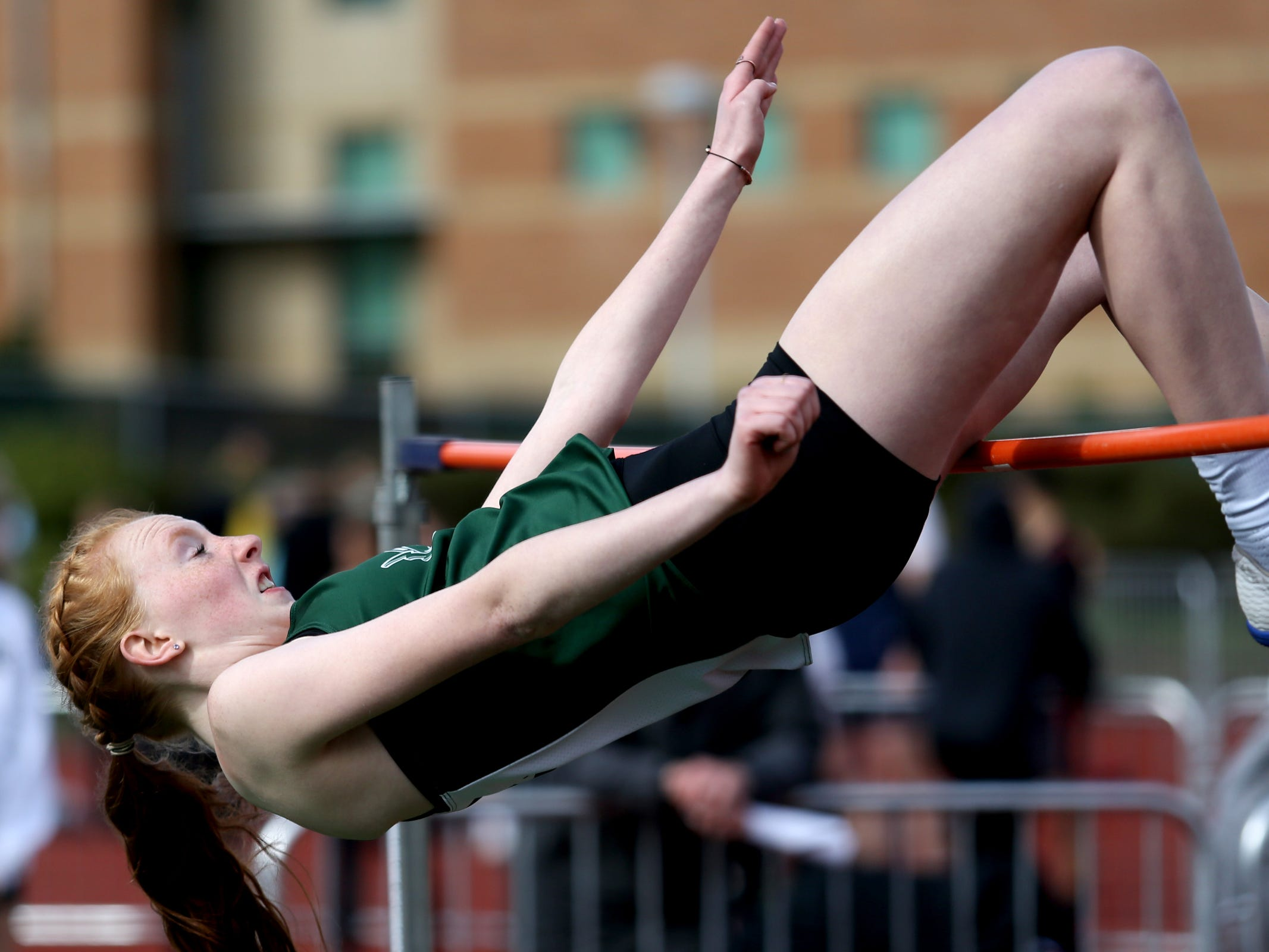 West Salem's Alison Calvin-Stupfel competes in the girls high jump during the Titan Track Classic high school track and field meet at West Salem High School on April 5, 2019.