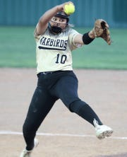 Abilene High pitcher Kaylen Washington fires a pitch in a District 3-6A softball game against San Angelo Central in San Angelo on Friday, April 5, 2019.