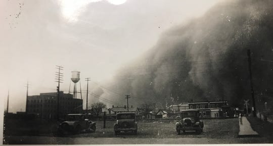 A dust storm approaches Post, Texas, in this undated file photo.