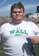 Wall's Chad Glasscock was third in the Division II shot put at the 2019 San Angelo Relays and won the District 4-3A title in the event April 5, 2019, in Ballinger.