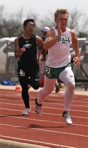 Wall's Sutton Braden races during the preliminaries of the boys 100 meters at the District 4-3A Track and Field Meet Friday, April 5, 2019, in Ballinger.