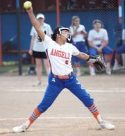 San Angelo Central pitcher Alli Talamantes fires a pitch during a District 3-6A softball game against Abilene High in San Angelo on Friday, April 5, 2019.