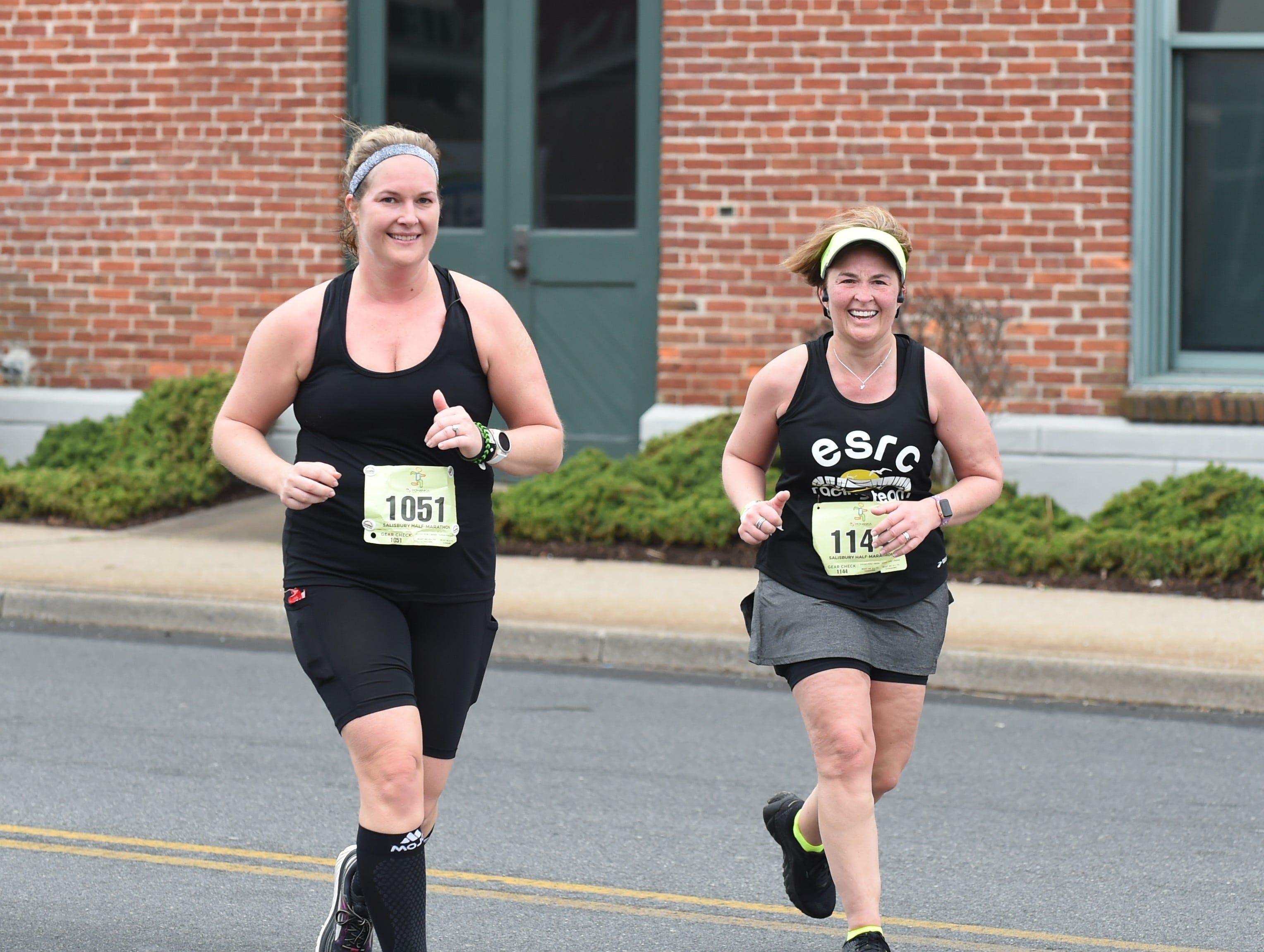 Kristen Staples (left) and Karen Dunn participated in the half marathon at the 2nd Salisbury Marathon/ Half Marathon/ 5k on Saturday, April 6, 2019.