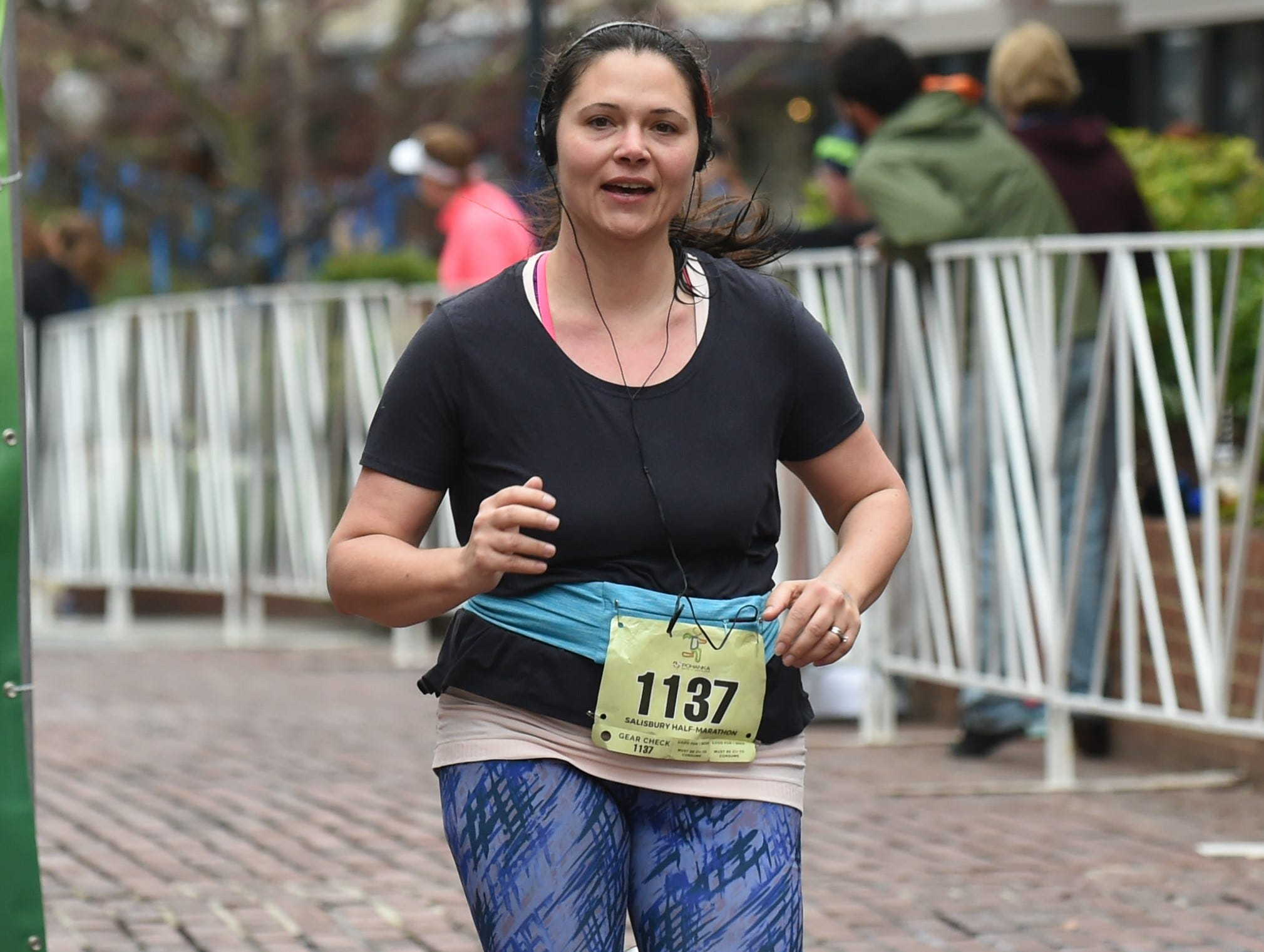 Amanda Ault finishes the half marathon at the 2nd Salisbury Marathon/ Half Marathon/ 5k on Saturday, April 6, 2019.