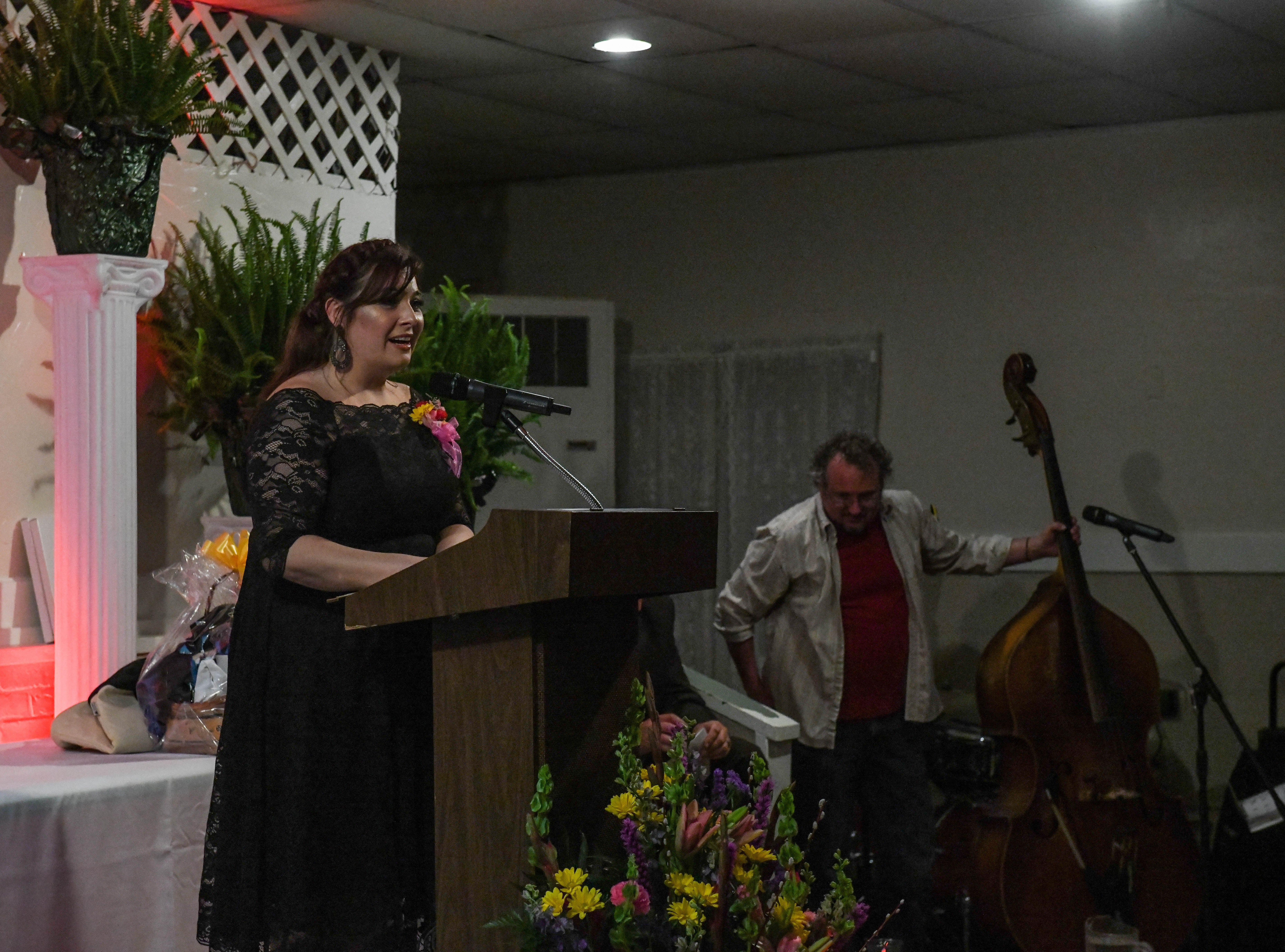 Christina South, Deal Island Elementary School teacher, speaks after receiving the Somerset County teacher of the year award at the banquet on Friday, April 5, 2019.