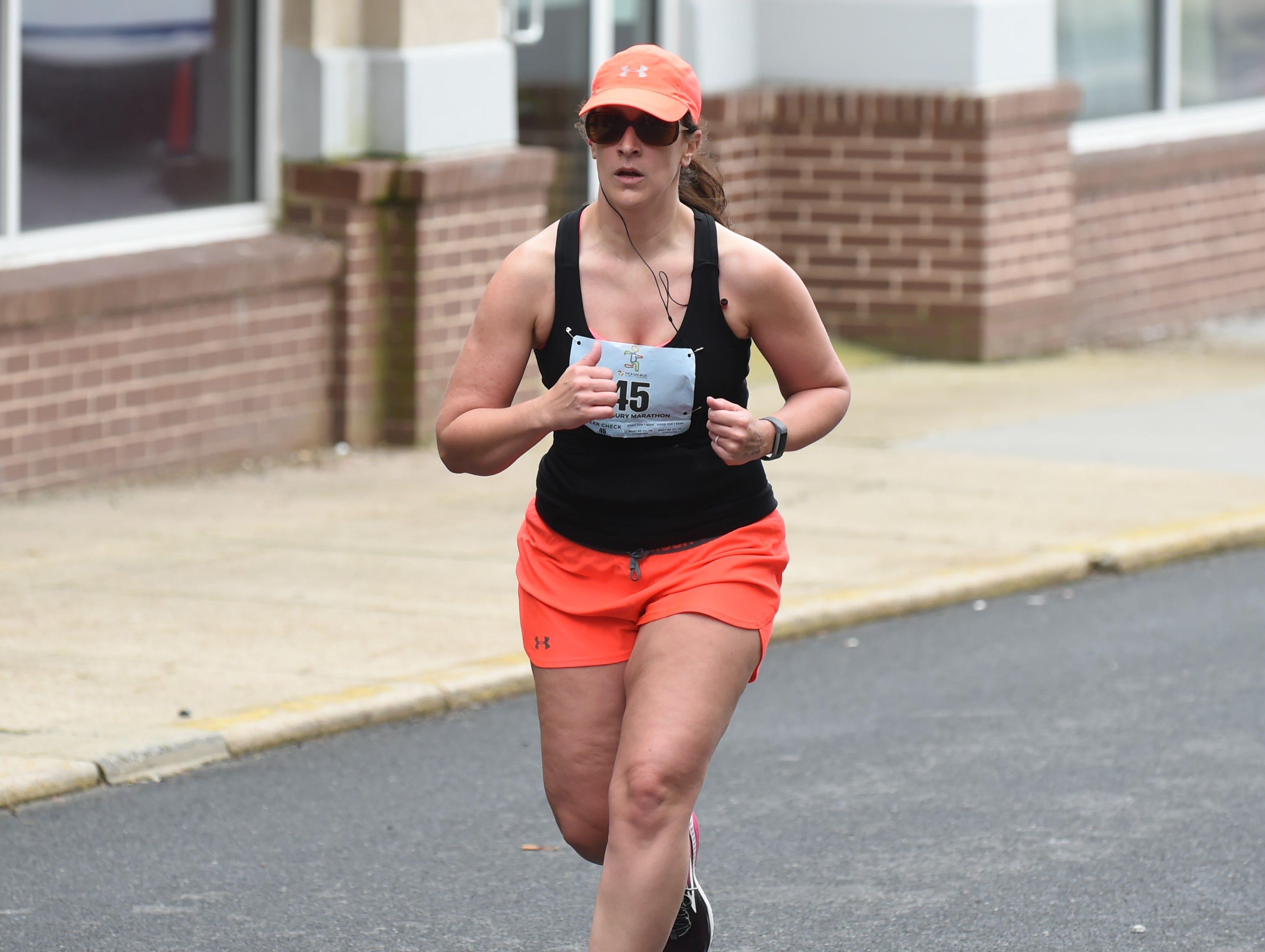Sarah Guy heads for the finish line at the 2nd Salisbury Marathon/ Half Marathon/ 5k on Saturday, April 6, 2019.