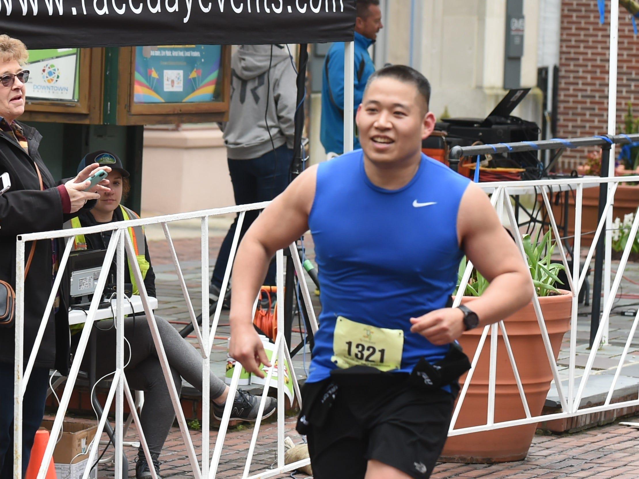 Elijah Kim eyes the finish line after running in the half marathon at the 2nd Salisbury Marathon/ Half Marathon/ 5k on Saturday, April 6, 2019.