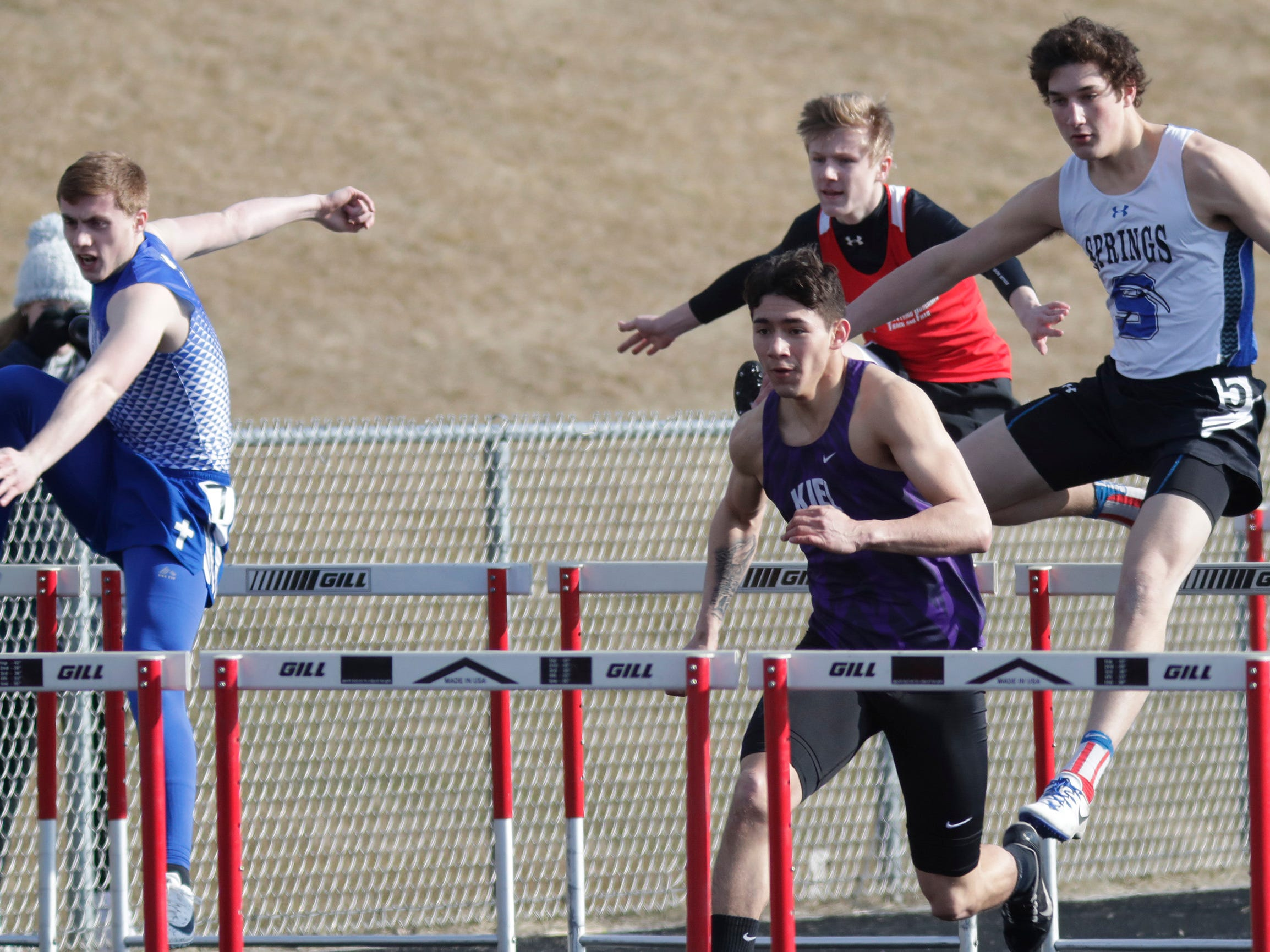 A scene from the 110 high hurdles at the Flying Dutchmen Invite, Friday, April 5, 2019, in Oostburg, Wis.