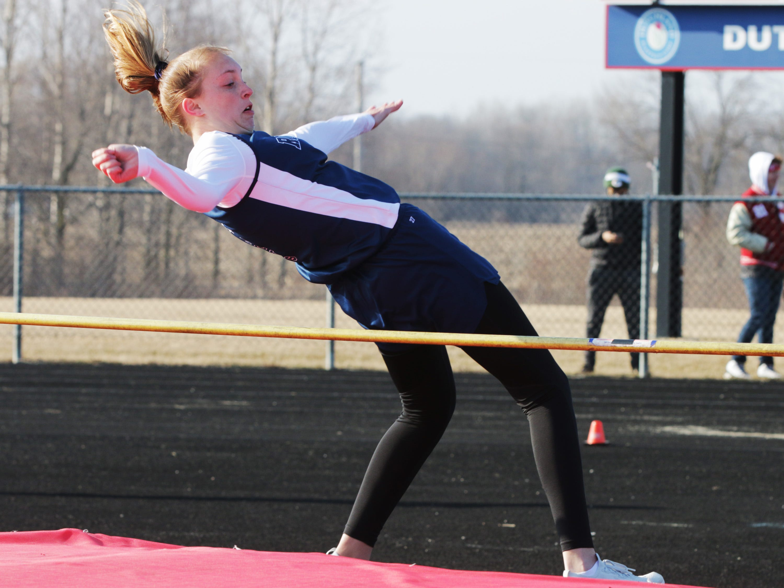 Roncalli's Maddie Paczkowski works to clear the high jump at the Flying Dutchmen Invite, Friday, April 5, 2019, in Oostburg, Wis.