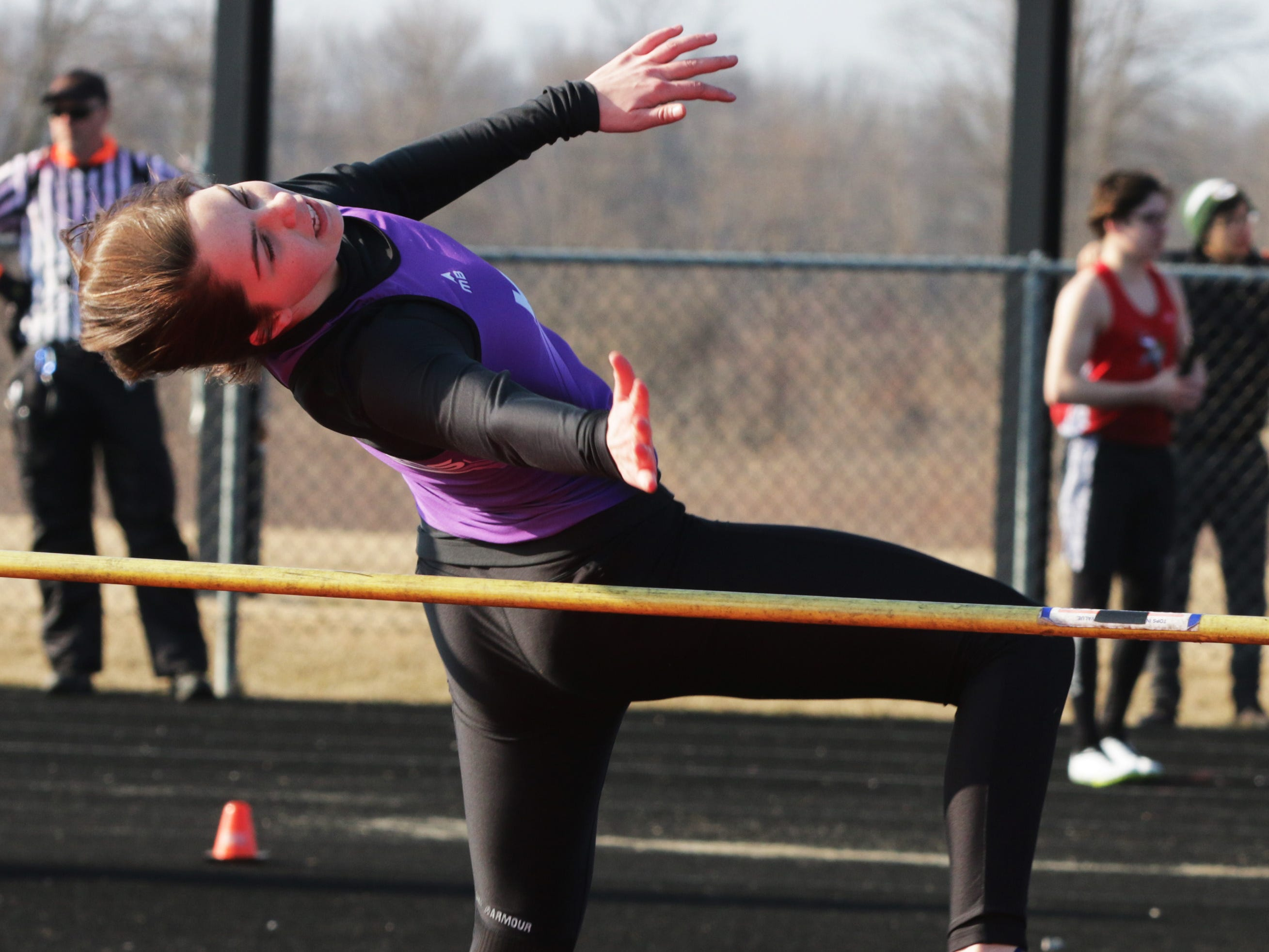 Kiel's Holly Vogel leaps in the high jump at the Flying Duthcmen Invite, Friday, April 5, 2019, in Oostburg, Wis.