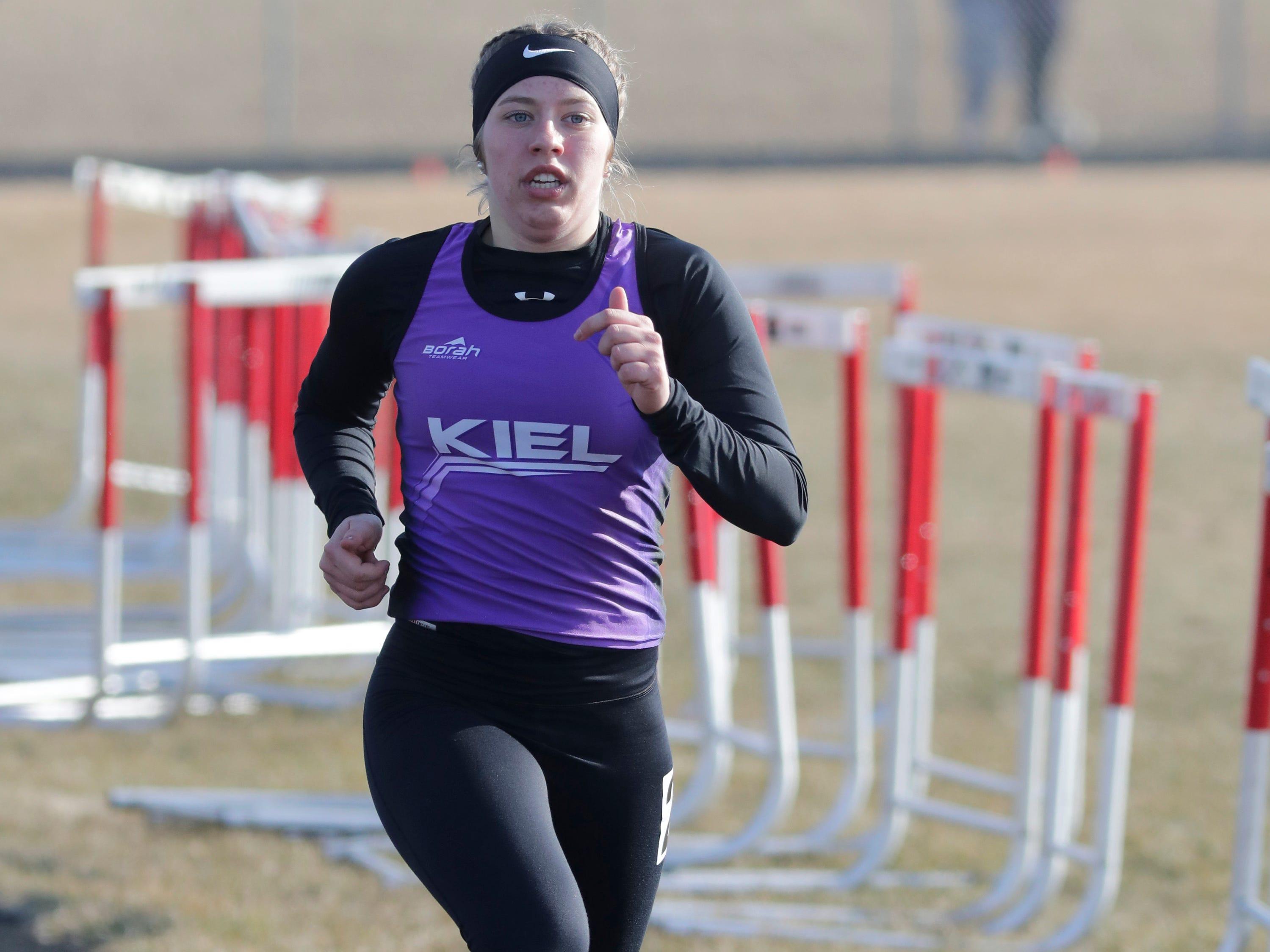 Kiel's Julia Koenig runs the 1600 meter run at the Flying Dutchmen Invite, Friday, April 5, 2019, in Oostburg, Wis.