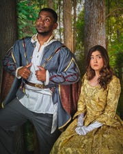 "Traven Harrington (Cinderella's Prince) and Brielle May(Cinderella) in ""Into the Woods."""