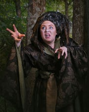 """Kristen Ables (Witch) has a commanding stage prescence in """"Into the Woods"""" at the Historic Owen Theatre in Branson."""