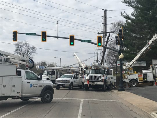 Traffic in Staunton is being detoured following an accident Saturday that snapped a pole in half near the intersection of Greenville Avenue and Richmond Avenue.