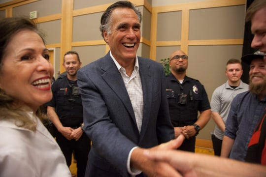 Sen. Mitt Romney speaks to St. George residents at Dixie State University Friday, April 5, 2019.