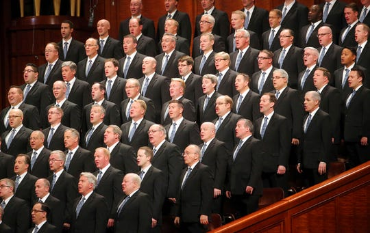 The Tabernacle Choir at Temple Square performs during The Church of Jesus Christ of Latter-day Saints conference Saturday, April 6, 2019, in Salt Lake City. Church members are preparing for more changes as they gather in Utah for a twice-yearly conference to hear from the faith's top leaders. (AP Photo/Rick Bowmer)