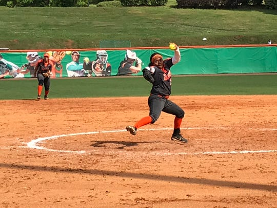 FAMU pitcher Brandice Boatwright delivers the heat in the second game of a doubleheader against Savannah State on Saturday, April 6, 2019.
