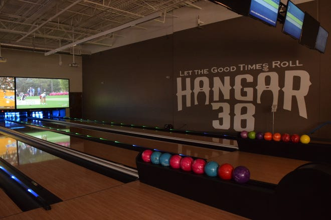 Hangar 38, a new entertainment venue and restaurant opening at Bannerman Crossing, has eight boutique bowling lanes.