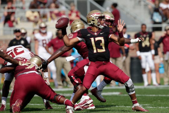 Florida State Seminoles quarterback Jordan Travis (13) throws to an open teammate. Florida State hosts its Garnet and Gold Spring Game Saturday, April 6, 2019.