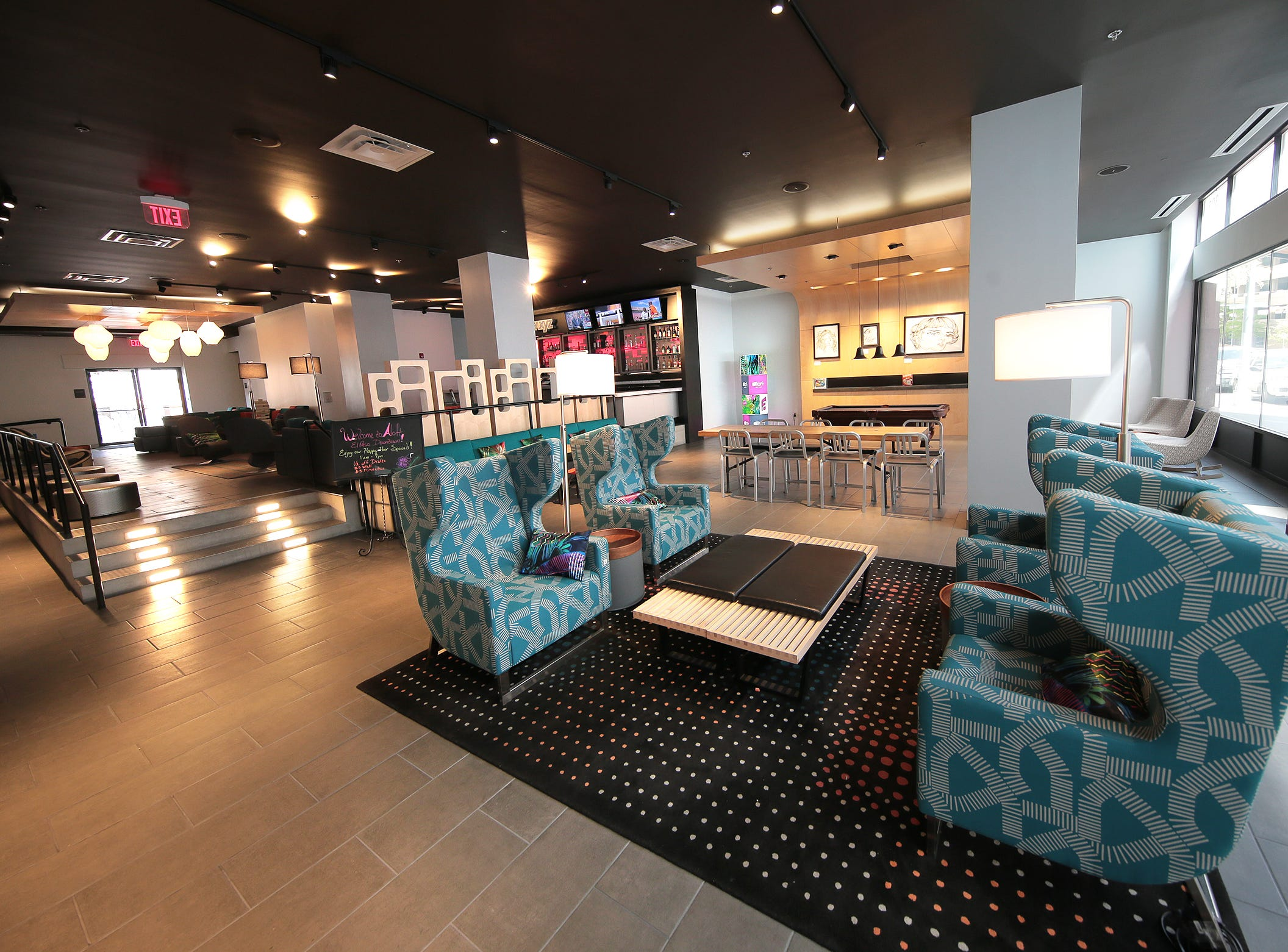 The Aloft Hotel in downtown El Paso features a modern lobby with a full bar and restaurant.
