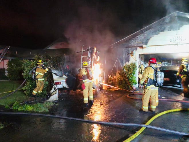 This was the scene of an RV fire at a residence in Camarillo on Saturday morning.