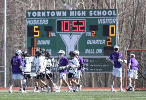 Yorktowns defeats John Jay-Cross River 8-3 in boys lacrosse at Yorktown High School on Saturday, April 6, 2019.