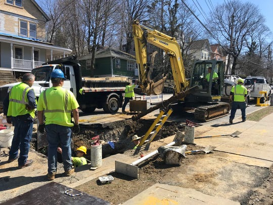 A crew on scene Saturday in Ossining working on repairs to a water main break.