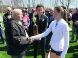 Sarah Flynn from The Ursuline School and Cian Galligan from Rye High School won the 2019 Covert Mile during the Ossining Relays, April 6, 2019.