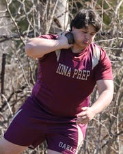 Francesco Negro from Iona Prep throws the shot during the Ossining Relays at the Anne M. Dorner Middle School in Ossining, April 6, 2019.