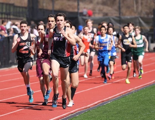Cian Galligan from Rye leads the pack during the Covert Mile at the Ossining Relays at the Anne M. Dorner Middle School in Ossining, April 6, 2019.
