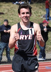 Cian Galligan from Rye give the thumbs up after winning the Covert Mile at the Ossining Relays at the Anne M. Dorner Middle School in Ossining, April 6, 2019.