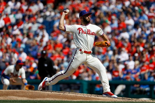 Philadelphia Phillies' Jake Arrieta in action during a baseball game against the Minnesota Twins, Saturday, April 6, 2019, in Philadelphia.