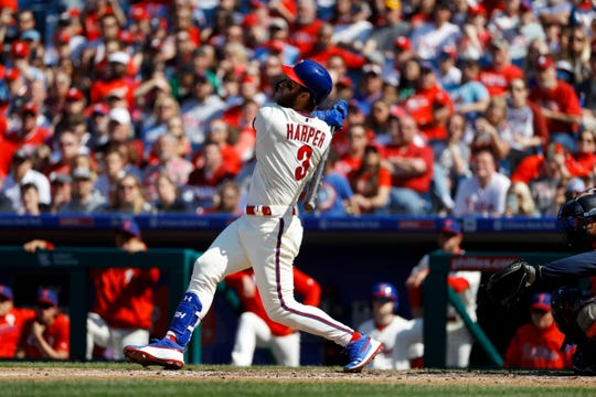 Philadelphia Phillies' Bryce Harper in action during a baseball game against the Minnesota Twins, Saturday, April 6, 2019, in Philadelphia.