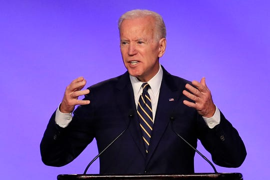 Former Vice President Joe Biden speaks at the IBEW Construction and Maintenance Conference in Washington, Friday, April 5, 2019.
