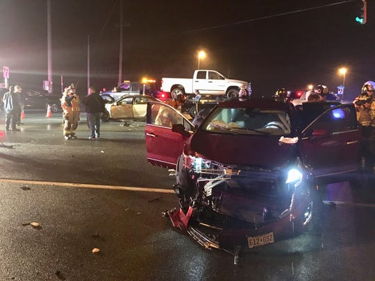 Three people, one a baby, were injured in a crash Friday night on Limestone and Paper Mill roads, state police said.